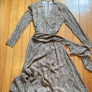 Faux wrap snake skin print silk maxi dress w sash